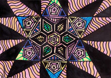 Geometric Pattern Hand Drawn On Paper With Black Marker And Color Pencils In The Form Of A Star. Beautiful Bright Ornament With Mandala, Kaleidoscope Effect. Poster Ackground Design