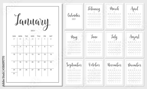Obraz Vector Calendar Planner for 2021 Year. Handwritten lettering. Set of 12 Months. Week Starts Sunday. Stationery Design for Printable. - fototapety do salonu
