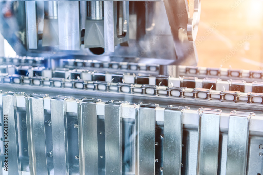 Fototapeta Plate heat exchanger. Fragment of equipment, closeup photo