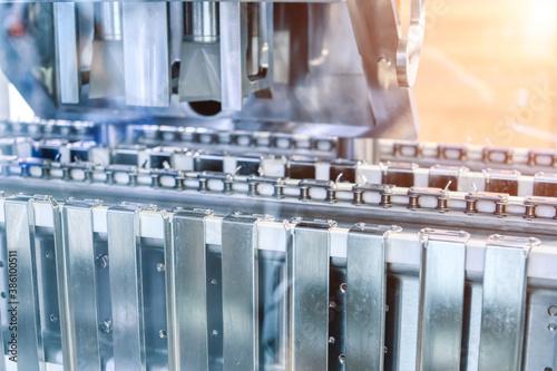 Obraz Plate heat exchanger. Fragment of equipment, closeup photo - fototapety do salonu