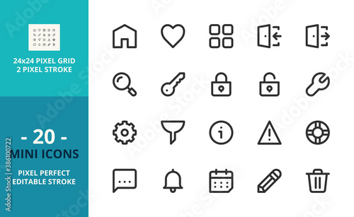 Mini line icons about interface. Pixel perfect and editable stroke
