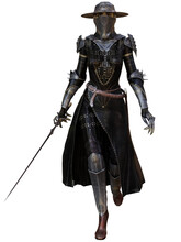 3D Rendered Fantasy Character. Fantasy Warrior Woman With Armor And Sword. Dark Knight.