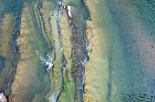 Beautiful Stones In A Mountain River. View From Above.