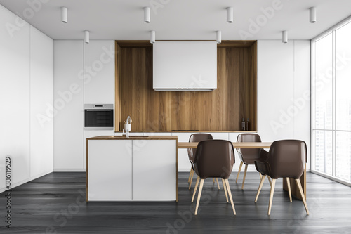 Obraz White and wooden kitchen with bar - fototapety do salonu