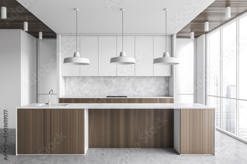 Obraz White kitchen interior with bar - fototapety do salonu