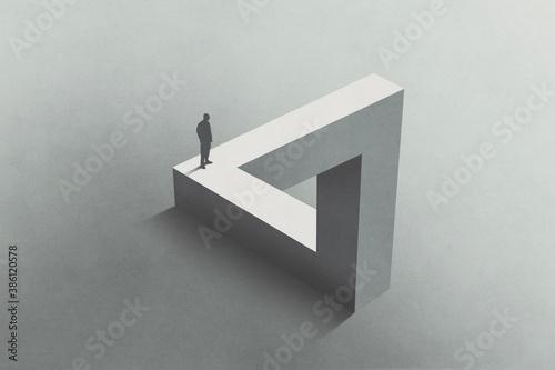 Illustration of man walking on Penrose triangle, surreal concept Fotobehang