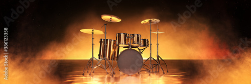 Stampa su Tela Gold drum kit in golden background. 3d rendering