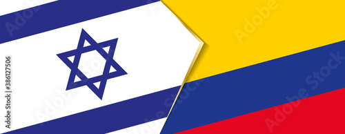 Fotografia Israel and Colombia flags, two vector flags.