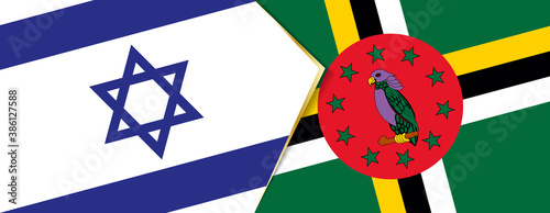 Obraz na plátně Israel and Dominica flags, two vector flags.