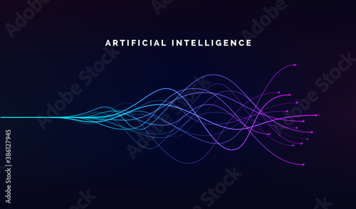Fototapeta Artificial intelligence ai and deep learning concept of neural networks. Wave equalizer. Blue and purple lines. Vector illustration obraz