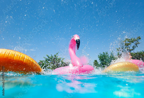 Obraz Funny action photo in the outdoor swimming pool with splashes of inflatable flamingo and doughnuts buoys rings - fototapety do salonu