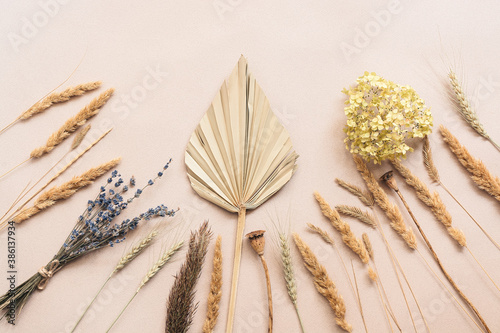Autumn composition, dried grass, palm leaf and flowers on a beige craft paper background Fototapet