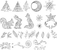 Winter Linear Hand Drawn Clipart For Decoration With Fox, Squirell, Hare, Snowflake, Christmas Tree. Winter Season Outline Clipart Set. Vector Set Of Christmas Elements For Greeting Card Or Poster