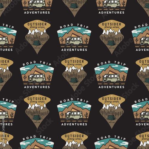 Road trip badges pattern Fototapet