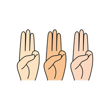 Three Finger Salute Flat Design