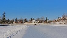 People Skating On Frozen Rideau Canal In Ottawa. Canada