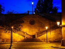 Stairs To Charles Bridge From Kampa Island In Prague
