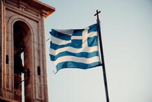 Greek Flag Waving In The Wind
