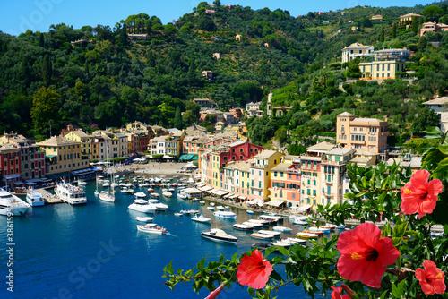 Fotografering Beautiful Portofino cityscape, best touristic Mediterranean place with typical c