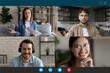 canvas print picture Screen view group video call, team brainstorming, negotiating online, sharing ideas, four people friends engaged in conference, internet meeting, using webcam and social media app, virtual event