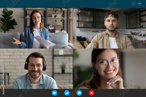 Screen view group video call, team brainstorming, negotiating online, sharing ideas, four people friends engaged in conference, internet meeting, using webcam and social media app, virtual event