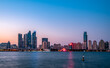 Qingdao coastline and urban architectural landscape skyline