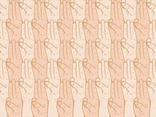 Tree Fingers Salute For Scout, Fighting For Their Rights, Hand Pointing Three Fingers Linear Style. Simple Doodle Hand Drawn Style.