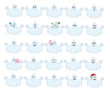 Cartoon With Ghosts For Halloween With Different Emotions. Large Set Of Isolated Emoji On A White Background. Vector Stock Illustrations