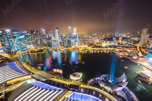 Fototapety, obrazy: Marina bay with urban skyscrapers at night, Singapore