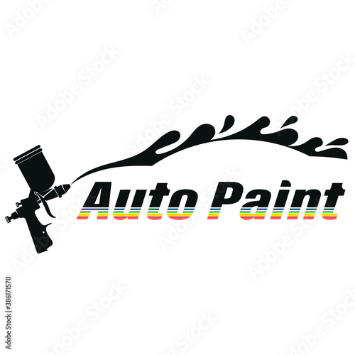 Obraz Body painting auto spray gun symbol for business - fototapety do salonu