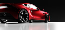 Rear View Of Red Fast Sports Car In Studio Light.
