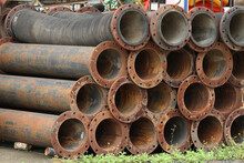 Pile Of Rusty Drainage Pipe