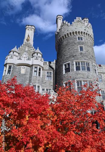 Naklejka premium Toronto, Canada - October 16, 2020: Casa Loma castle in Toronto with fall colors