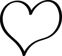 Black Heart - Outline Drawing For An Emblem Or Logo, Illustration For Creating A Screensaver Template.  Icon For Halloween Holiday.