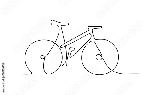 Obraz One Line Drawing or Continuous Line Art of classic bicycle vector illustration. Hand drawing business concept sketch of bike a traditional transportation. Healthy lifestyle minimalist style  - fototapety do salonu