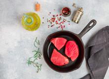 Raw Tuna Fish Steaks With Sea ...