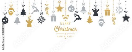 Photo Christmas hanging elements on robe with wishes on white background