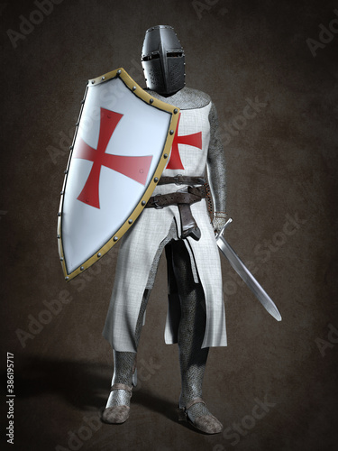Obraz na plátně Medieval knight Templar. 3d illustration