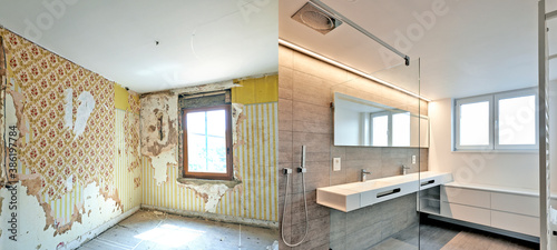 Obraz Renovation of a bathroom Before and after - fototapety do salonu