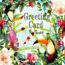 Greeting Floral Vintage Card With Flowers. Tropical Leaf, Flowers, Bamboo And Two Toucan Birds. This Template Can Be Used As Other Type Of Invitations And Holidays. Vector.