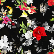 Seamless Floral Background Pattern. Abstract Flowers, Peony, Magnolia With Toucan Bird On Black. Pattern For Textile, Fabric And Other Prints Purpose. Hand Drawn Artwork, Vector Wallpaper.