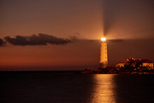 Beautiful Tall White Lighthouse At Sunset Crimea Peninsula Cape Fiolent
