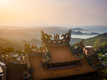 Temple In Taiwan Over Hill With Bueatiful View.