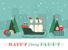 Cute Christmas Bowling Pins In Sleigh Illustration