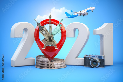 Obraz 2020 Happy new year. Number 2020 and pin with most popular landmarks of the world. New year celebration in London, Paris, Rome or New York. - fototapety do salonu