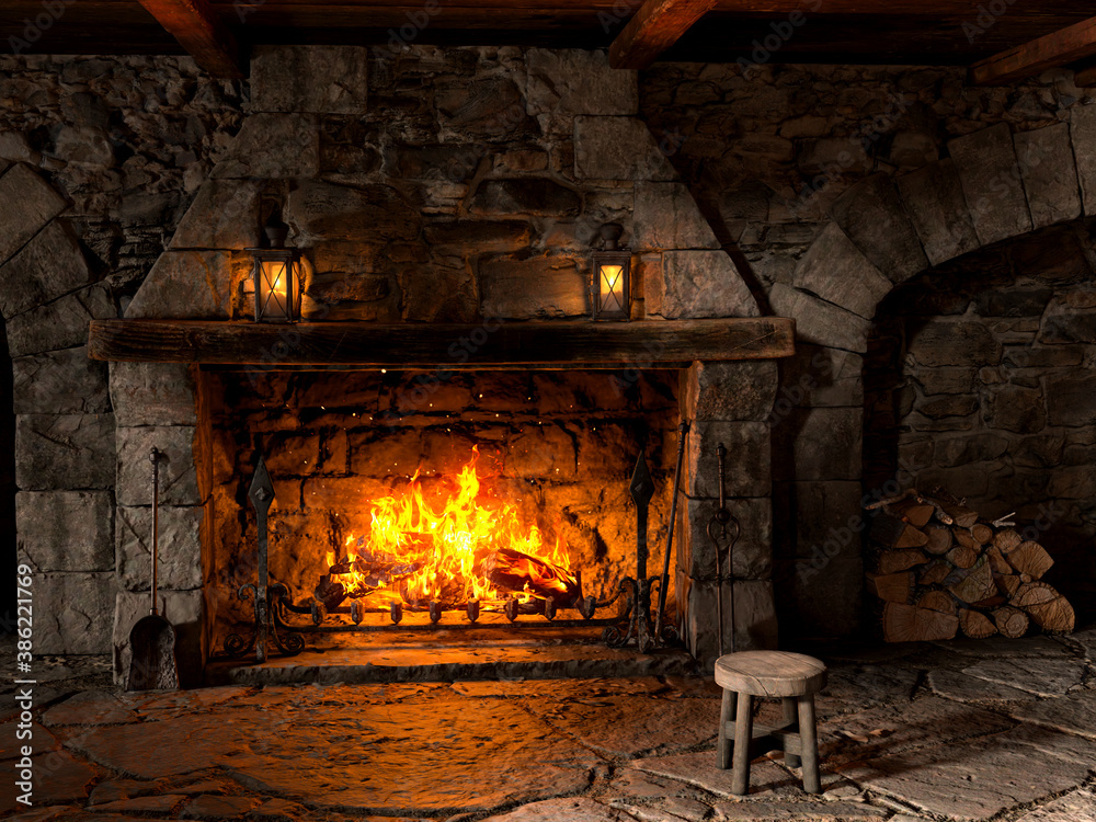 Fototapeta Fireplace in old stone cottage interior with wooden chair, lanterns and wood pile. 3D rendering.