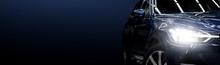 Black Modern Car On Black Back...