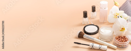 Fotografie, Tablou Beauty background with facial cosmetic products