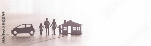 Fotografija Insurance protecting family health live, house and car concept.