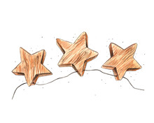 Hand Drawn Watercolor Artwork. Painted Aquarelle Picture. Artist Painting. Three-dimensional Wooden Stars Connected By Thread Hang In The Air. Decorations For Holiday, Birthday, New Year Or Christmas.